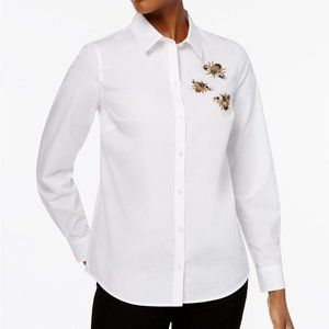 !White Button Collar COTTON Embellished Bee Shirt!